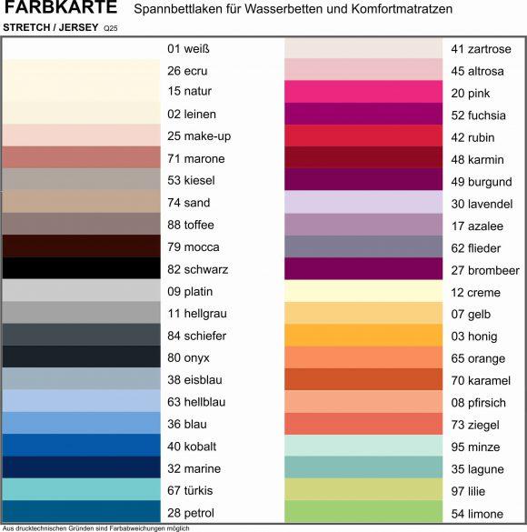 Farbkarte Spannlaken
